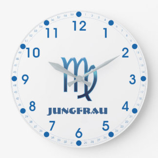 Blau Jungfrau Virgo Zodiac Large Clock