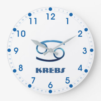 Blau Krebs Cancer Zodiac Large Clock