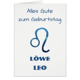 Blau Löwe Leo Zodiac Geburtstag Card