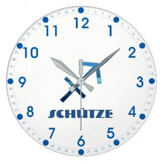 Blau Schütze Sagittarius Zodiac Large Clock
