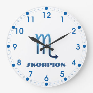 Blau Skorpion Zodiac Large Clock