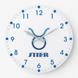 Blau Stier Taurus Zodiac Large Clock
