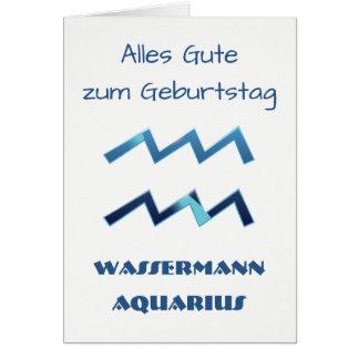 Blau Wassermann Aquarius Zodiac Geburtstag Card
