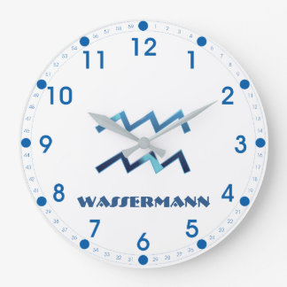 Blau Wassermann Aquarius Zodiac Large Clock