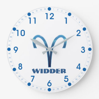 Blau Widder Aries Zodiac Large Clock