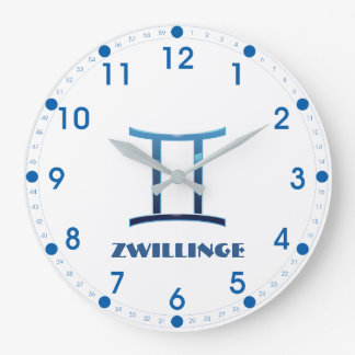 Blau Zwillinge Gemini Zodiac Large Clock