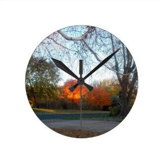Blaze of Fall Round Clock