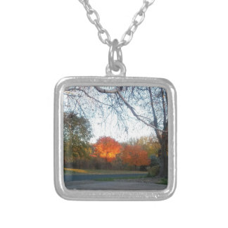 Blaze of Fall Silver Plated Necklace