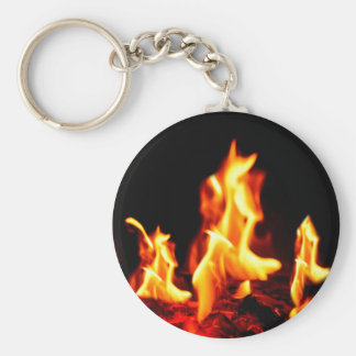 Blazing flames basic round button keychain