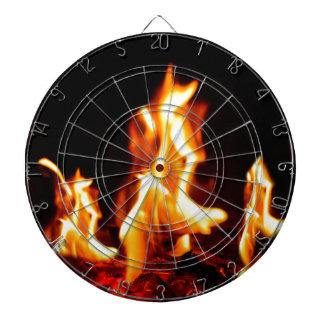 Blazing flames dartboard