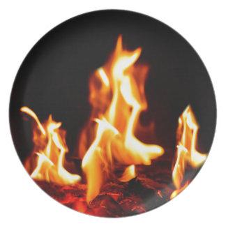 Blazing flames plate