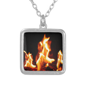 Blazing flames silver plated necklace