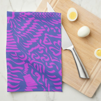 Blazing hot pink & blue kitchen towel