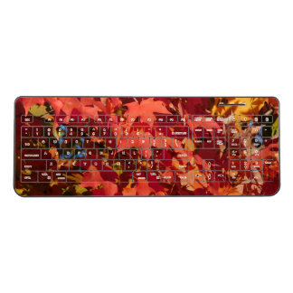Blazing Orange Autumn Leaves Wireless Keyboard
