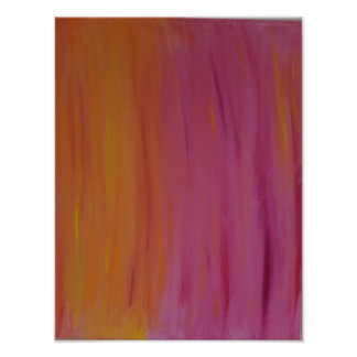 Blazing Orange & Pink Acrylic Painting Poster