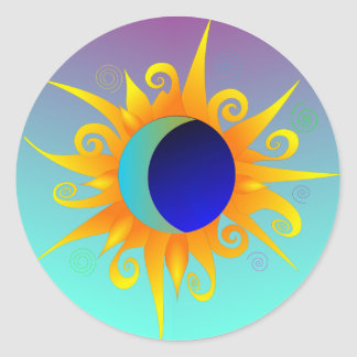 Blazing Sunmoon Classic Round Sticker