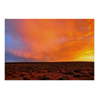 Blazing Sunset with Lightning over Desert Poster