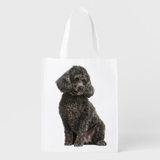 Blcak Poodle Puppy Dog Grocery Tote Bag