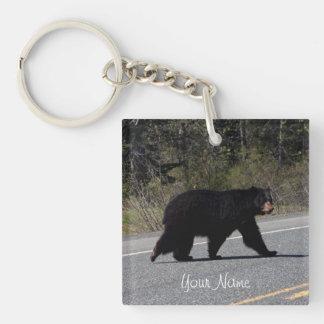 BLCR Bear Crossing Single-Sided Square Acrylic Keychain