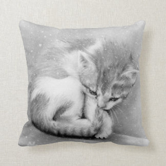 Bleak wintry kitty Pillow