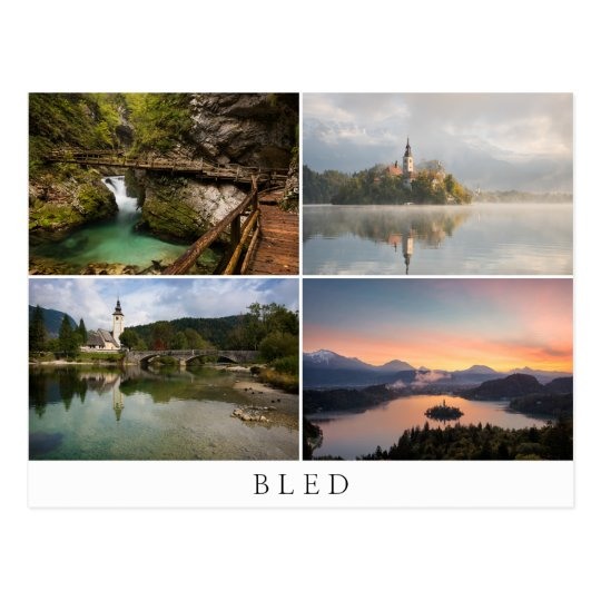 Bled landscapes in collage souvenir postcard