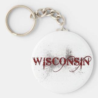 Bleeding Grunge Wisconsin Keychain