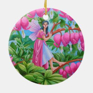 Bleeding Heart Fairy Round Ceramic Ornament