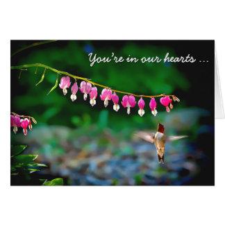 Bleeding Hearts Hummingbird Thinking of You Card