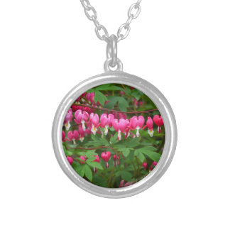 Bleeding Hearts Nature, Photo Silver Plated Necklace