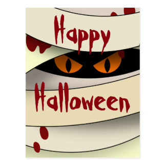 Bleeding Mummy Happy Halloween Postcard