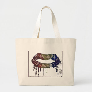 bleeding rainbows.lips and its not skittles! large tote bag