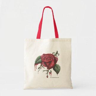 Bleeding Red Rose Tote Bag Flower Tote Bag