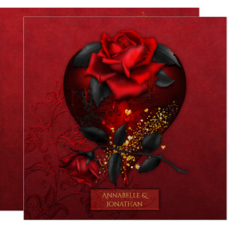 Bleeding Red Roses Black Leaves Gold Wedding   Card
