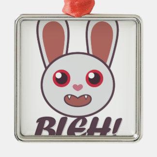 Bleh Rabbit Silver-Colored Square Ornament