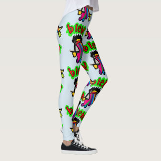 bleh vomit cartoon guy leggings