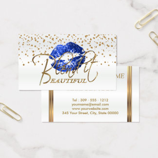 Blend it Beautiful Gold Confetti & Blue Lips 1 Business Card