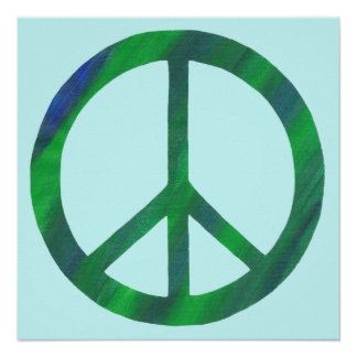 Blended Blue and Green Peace Sign Posters