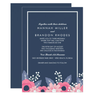 Blended Families Brilliant Blue Floral Wedding Card