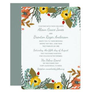 Blended Families Garden Floral Wedding Invitation