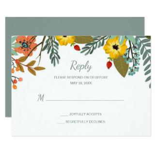 Blended Families Garden Floral Wedding RSVP Card