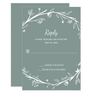Blended Families Green Wreath Wedding RSVP Card