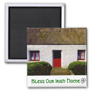 Bless Our Irish Home Thatch Cottage Magnet