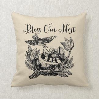 Bless Our Nest Bird's Nest Throw Pillow