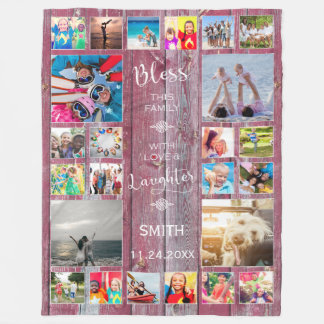Bless this Family with love 24 Photo Collage Fleece Blanket