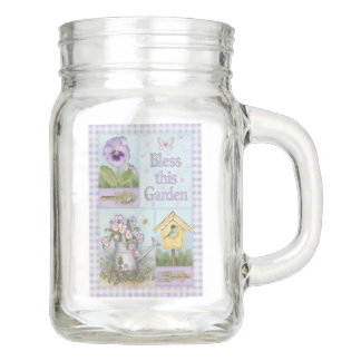 Bless This Garden Pansy Birdhouse Mason Jar