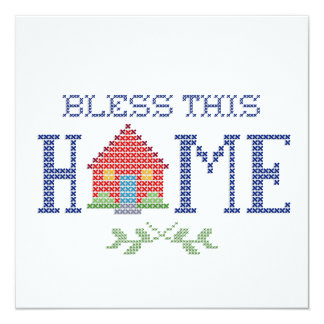 "Bless This Home Cross Stitch Embroidery 5.25"" Square Invitation Card"