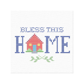 Bless This Home Cross Stitch Embroidery Gallery Wrap Canvas
