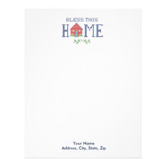 Bless This Home Cross Stitch Embroidery Letterhead