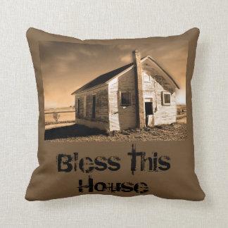 Bless this house vintage cotton throw pillow
