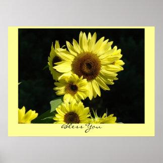 Bless You art prints Yellow Sunflower Garden Poster